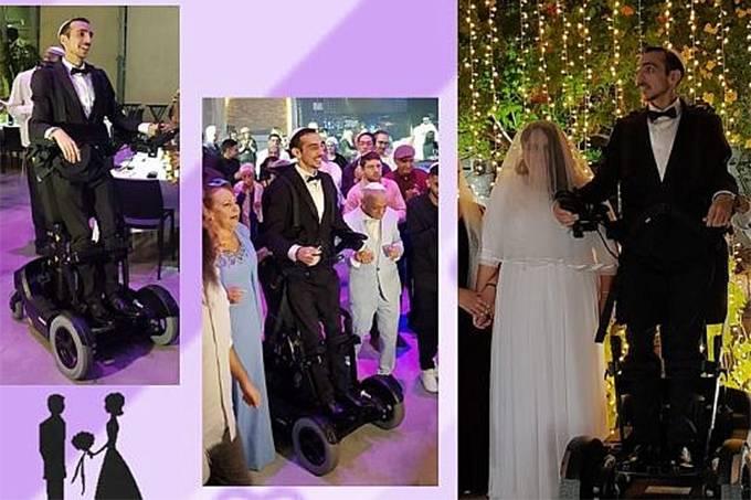 Noivo tetraplégico fica em pé com tecnologia robótica